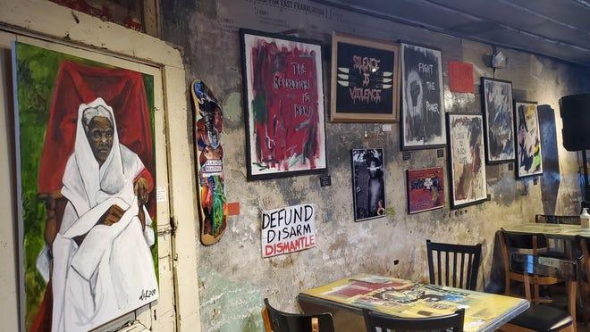 The short-lived Black Lives Matter art exhibit inside of Rehab Tavern