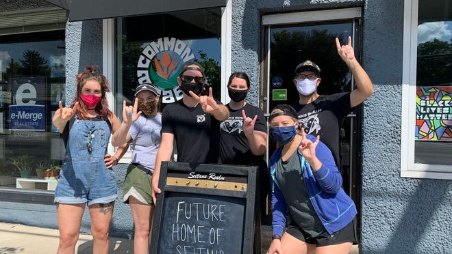 Seitan's Realm staff in front of its future Clintonville location. The plant-based eatery is making the jump from food truck to brick and mortar with a vegan deli.