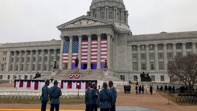 Members of the Missouri State Highway Patrol gather outside the state Capitol on Monday, Jan 11, 2021, as final preparations are made for the inauguration of Missouri Gov. Mike Parson in Jefferson City, Mo.