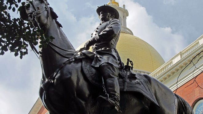 This is the statue of General Joseph Hooker outside the State House. Hooker is a Massachusetts-born general who served in the Union Army during the Civil War.