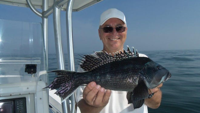 John Warchol, Bayville, caught this 4-pound sea bass out of Barnegat Inlet.