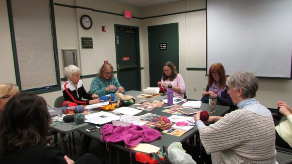 Here I am with the new knitting group at the Warren Library, They're now meeting twice a month, the first and third Mondays from 10 to 11:30.
