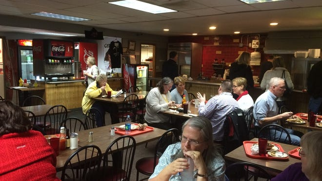 The lunchtime crowd at Mr. Filet downtown is steady.