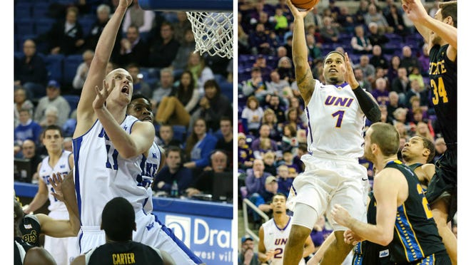 Drake's Jacob Enevold Jensen, left, and Northern Iowa's Deon Mitchell are rare members of the Bulldogs' and Panthers' rosters who don't hail from the Midwest.