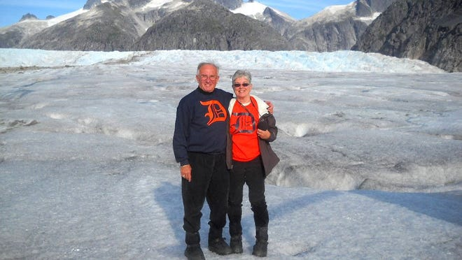 Keith and Victoria Van Sickle of White Lake Township show their Old English D's on top of Herbert Glacier, near Juneau, in Alaska. The trip, a cruise on the inland waterways, was a gift from their children Kyle, Rebecca, Jessica and Kirk in celebration of their 50th wedding anniversary.
