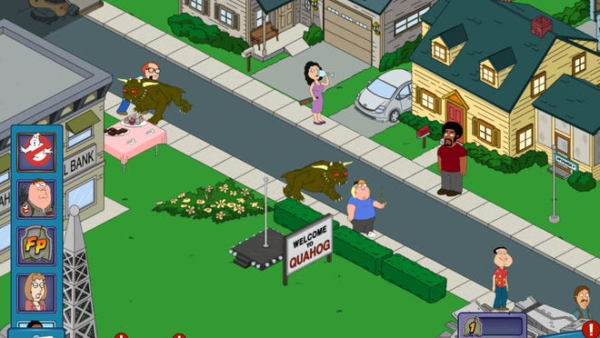 "The evil dogs from ""Ghostbusters"" are some of the creatures you'll see lurking around Quahog lately in ""Family Guy: The Quest for Stuff."""