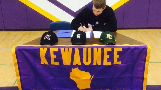Kewaunee's Sam Kohnle signs his national letter of intent to Winona.