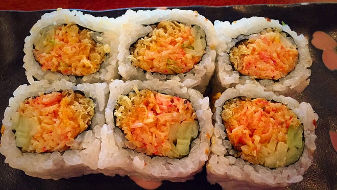 The spicy crabmeat crunch roll ($5.50) has scallions, smelt fish roe and spicy mayo.