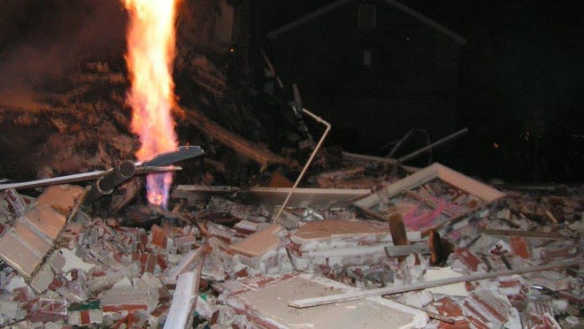 The rubble after a leak in a gas pipe caused the explosion of a two-family apartment building at Marks Village in Birmingham in December 2013.