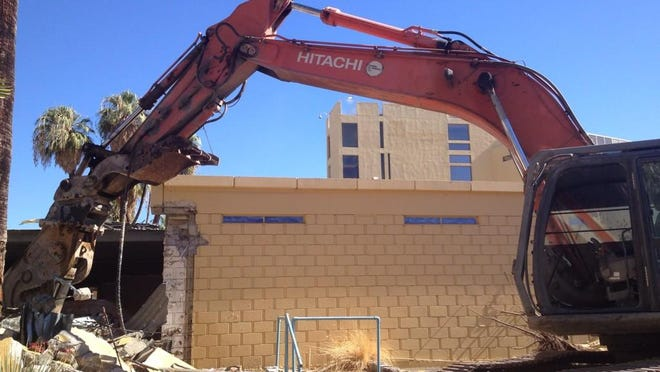 Demolition of the spa and fitness center at the Spa Resort hotel on Wednesday, September 3, 2014 in downtown Palm Springs.