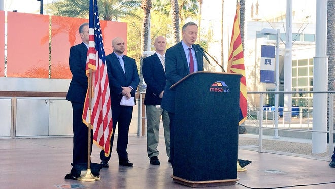 Mesa Mayor John Giles announces the city will join a national effort to eradicate veteran homelessness at a press conference March 25.