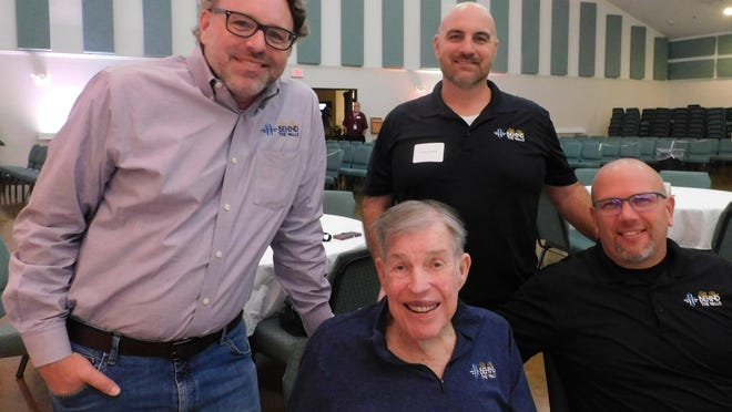 Back row, from left: Kit Van Arsdale - Chief Information Officer and Jeremy Lampier. Front row: Bill Glass, founder (front and center) - former Baylor All-American and NFL player, and Michael Nolan - BGBTW new CEO.