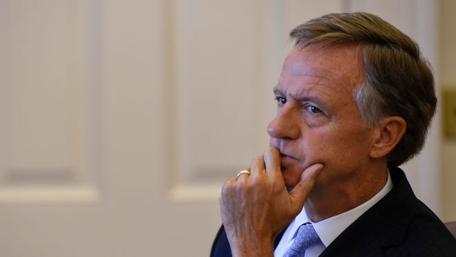Governor Bill Haslam announces to the media that federal immigration laws are important to the safety and security but that House Bill 2315 will become law without his signature at the State Capital Building in Nashville, Tenn., Monday, May 21, 2018.