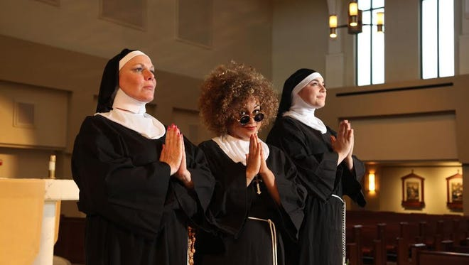 "Martha Wilkinson,  Meggan Utech and Gracie McGraw in ""Sister Act"" at Chaffin's Barn."