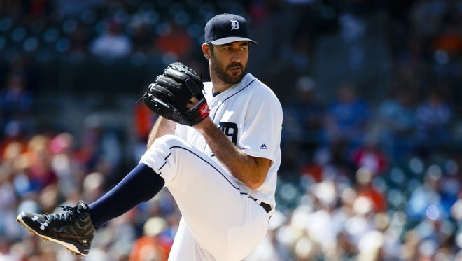 Tigers' Justin Verlander pitches against the Baltimore Orioles on Sept. 11, 2016, at Comerica Park in Detroit.