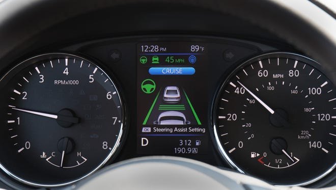 Nissan's ProPilot Assist combines adaptive cruise and lane control. This image shows how the instrument panel looks when the system is engaged.
