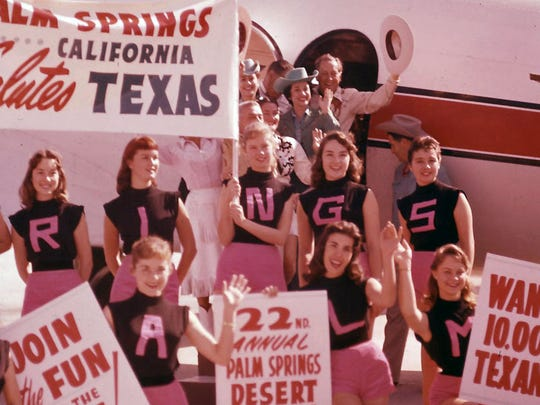 Palm Springs Debs at the Palm Springs Airport greeting Texas dignitaries participating in Desert Circus, 1958.
