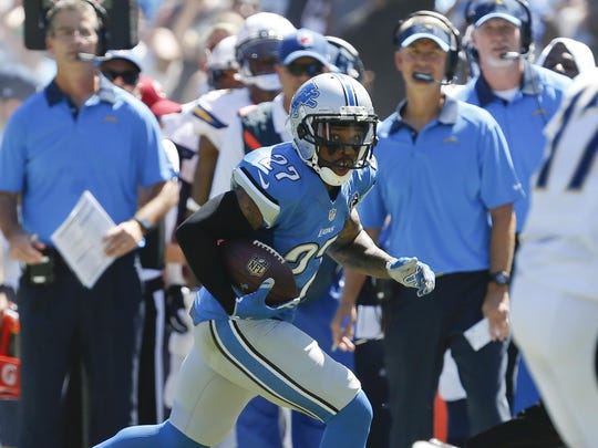 Lions free safety Glover Quin returns an interception for a touchdown in the loss to the Chargers in Week 1 in San Diego.