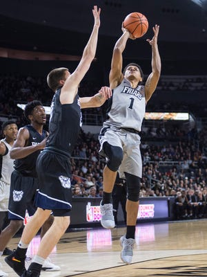 Providence Friars guard Makai Aston-Langford (1) shoots the ball against the Butler Bulldogs at Dunkin Donuts Center.