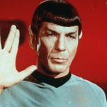 "Leonard Nimoy played the logical and mostly emotionless Mr. Spock in Star Trek, At 75, Nimoy said, he wouldn't mind being involed in the 11th ""Star Trek"" motion picture. ""If they call us and say, 'We'd like to talk to you about an involvement,' I certainly would listen."" (Gannett News Service/Jellybean Photographic Services/File)"