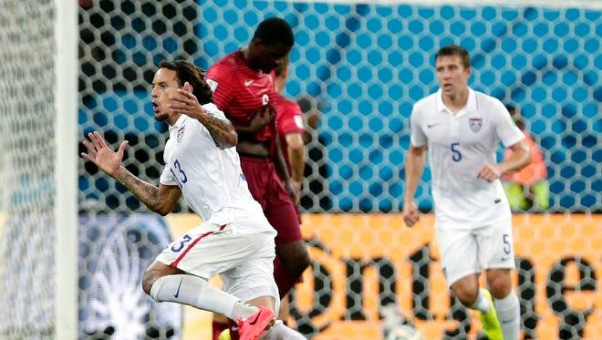 U.S. midfielder Jermaine Jones, left, celebrates after scoring his side's first goal against Portugal on Monday.