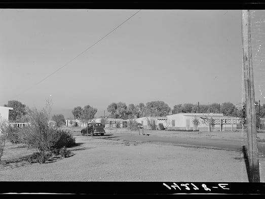 Farmworkers' homes in Glendale in 1936.
