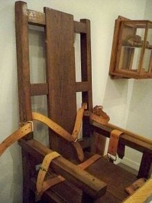 A retired electric chair is seen in the museum inside the Louisiana State Penitentiary at Angola.