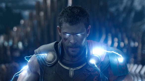 A scene from Thor: Ragnarok, with Chris Hemsworth as Thor, God of Thunder.