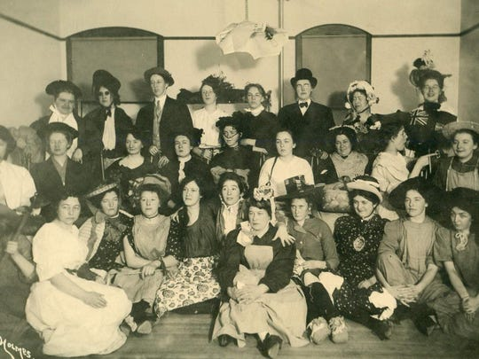 Nurses enjoying free time. Violet Martin Reeves is in the back row, right.