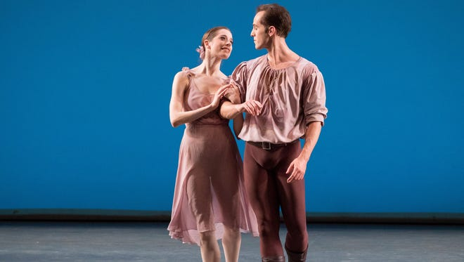 "Rebecca Krohn and Jared Angle are shown in ""Dances for a Gathering"" by Jerome Robbins, which will be performed this weekend by New York City Ballet Moves at Bard SummerScape."