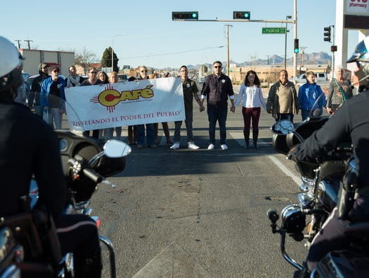 Protesters with NM CAFé blocked traffic on Picacho