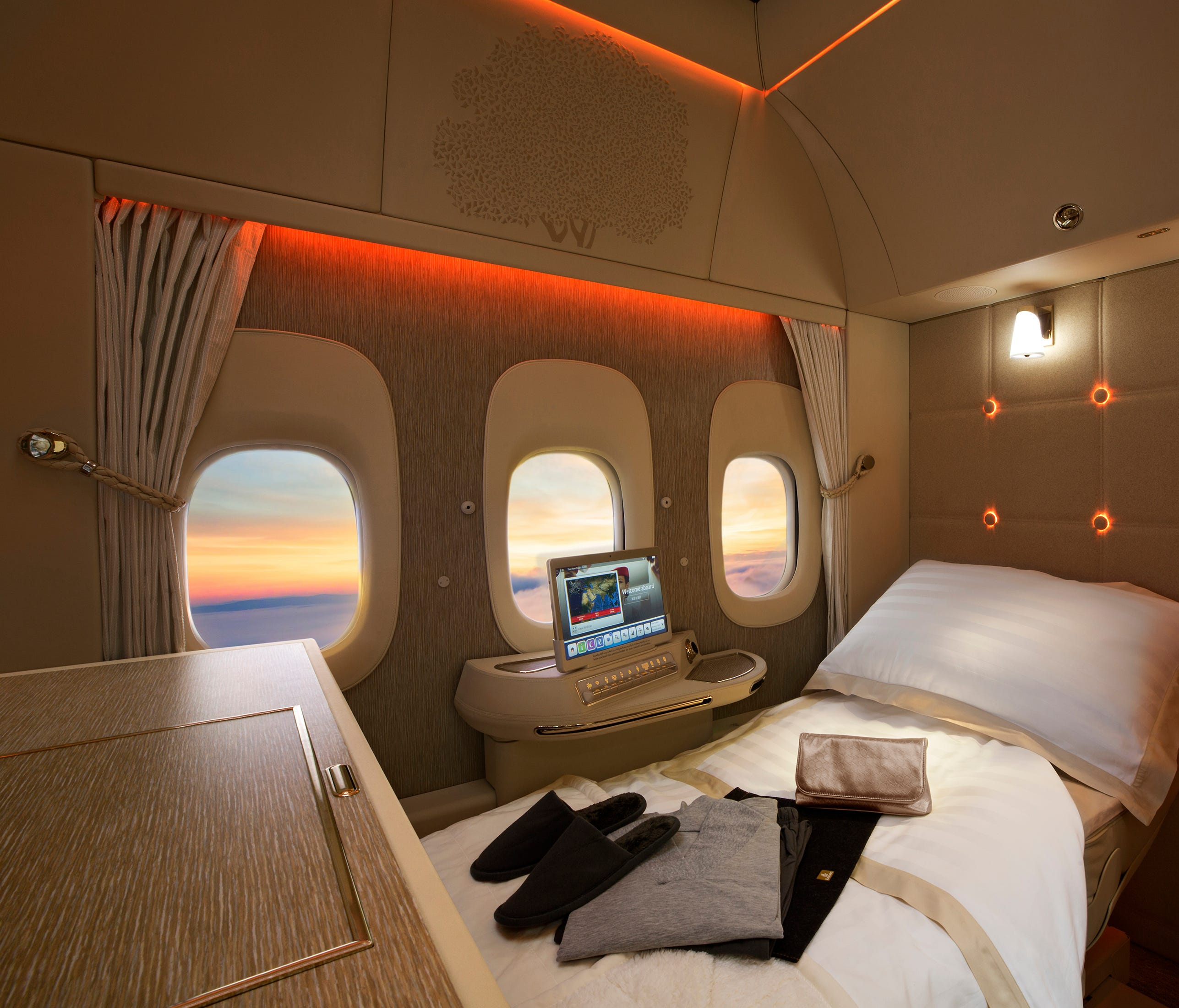 This file photo shows a new first-class suite on Emirates' Boeing 777-300ER widebody jets.