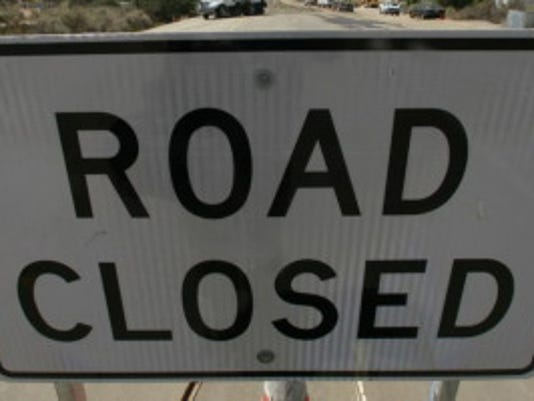 Road closure set for 8 p m  today