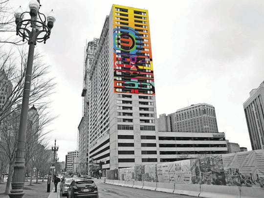 "A photo illustration of what the mural titled ""Rise"" by artist Beverly Fishman would look like on the Detroit City Club Apartments in Detroit."
