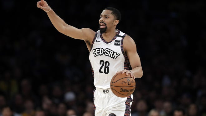 Spencer Dinwiddie and Nets will battle for playoff positioning in proposed eight-game regular season when the NBA returns to action on July 31. MARCIO JOSE SANCHEZ/AP