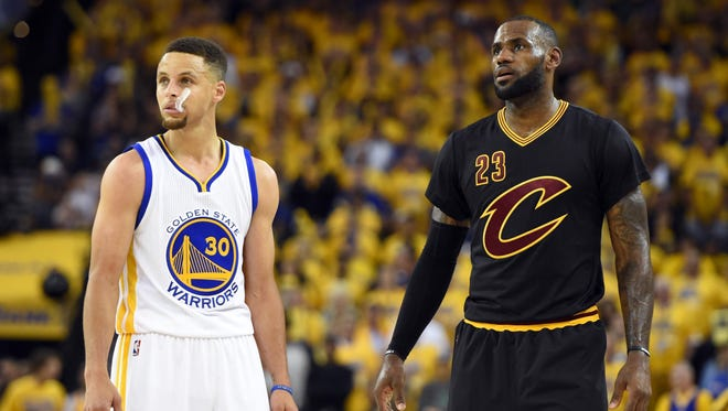 LeBron James and Stephen Curry during the third quarter in Game 5 of the NBA Finals.