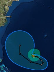 The path of Hurricane Jose according to the National