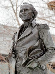 A statue of Gen. John Stark is seen on the Statehouse lawn in Concord, N.H.