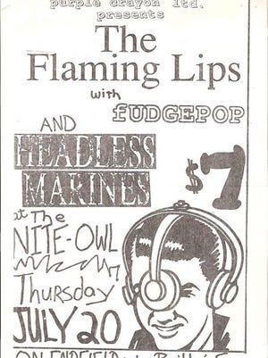 Flaming Lips, Headless Marines, Fudge Pop show poster from the late 1980s