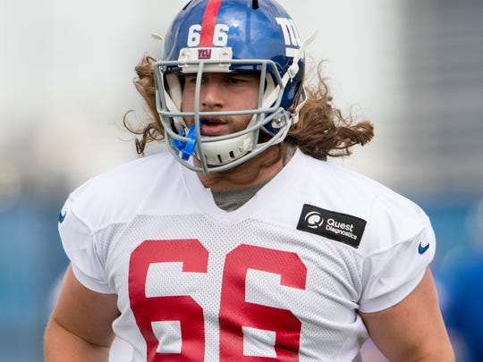 May 12, 2017; East Rutherford, NJ, USA;  New York Giants offensive tackle Adam Bisnowaty (66) during rookie mini camp at Quest Diagnostics Training Center. Mandatory Credit: William Hauser-USA TODAY Sports
