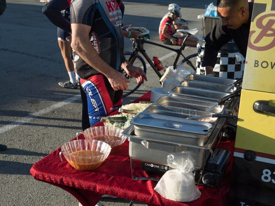Laguna Seca event operators open the track for two hours for the Twilight Rides and local caterers like Tacos Don Beto provide food for the riders.