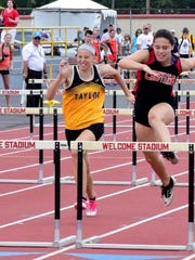 Randi Schutte runs to as 5th place finish in the Girls 100 Meter Hurdles, May 28.