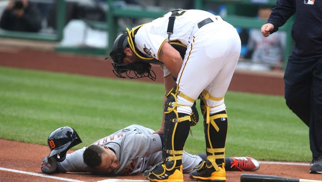 Detroit outfielder Leonys Martin was in serious pain after taking a foul ball to the groin in Wednesday's game at Pittsburgh. He homered two pitches later.