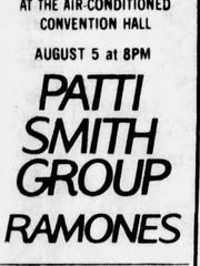 A 1978 ad in the Asbury Park Press for John Scher's concerts On the Boardwalk lists an Aug. 5 show at Convention Hall with The Ramones opening for Patti Smith