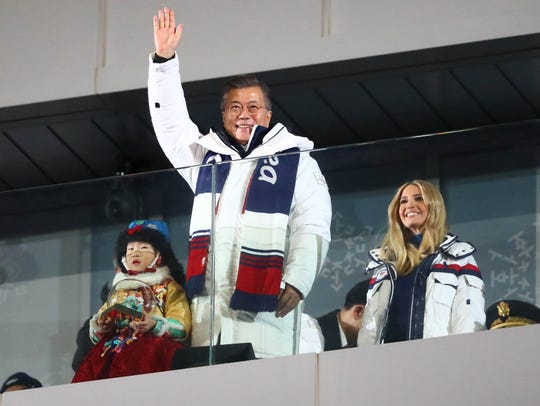 Korea President Moon Jae-in with Ivanka Trump during the closing ceremony of the 2018 Winter Olympics.