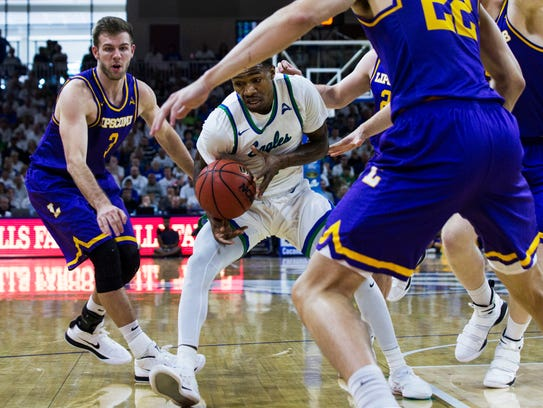 FGCU senior guard Brandon Goodwin and his Eagles teammates were blocked from the NCAA tournament by Lipscomb. But they returned to practice on Wednesday in good spirits.