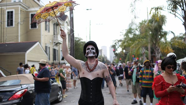 A participant in the Red Beans and Rice Mardi Gras