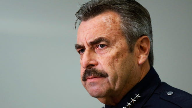 FILE - In this Feb. 4, 2014 file photo, Los Angeles Police Chief Charlie Beck speaks at a news conference at LAPD headquarters. The LAPD said in a statement Sunday that Beck fractured his pelvis in an off-road motorcycle accident Saturday, Oct. 29, 2016. (AP Photo/Reed Saxon, File)