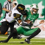 Southern Miss defensive back Picasso Nelson Jr. takes down a Marshall ball carrier during a game earlier this season.