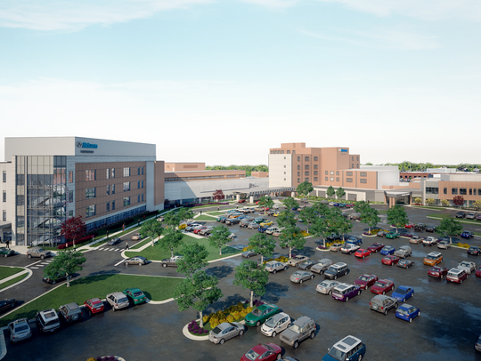 Rendering of completed building and renovation project